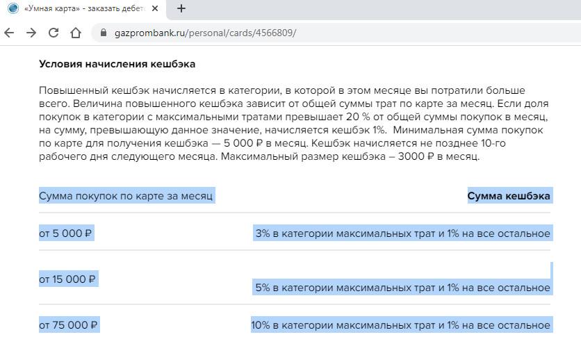 Условия начисления кэшбэка по Умной карте Газпромбанка