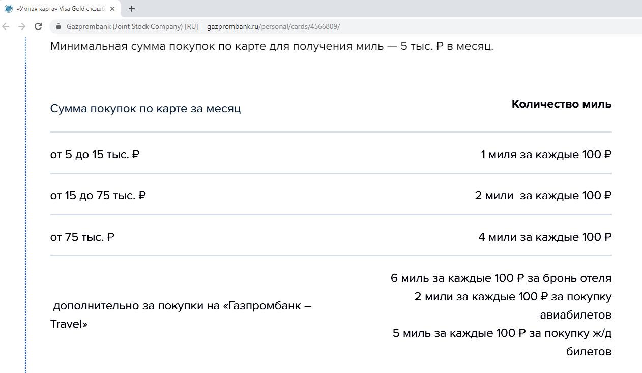 Условия начисления миль по умной карте Газпромбанка